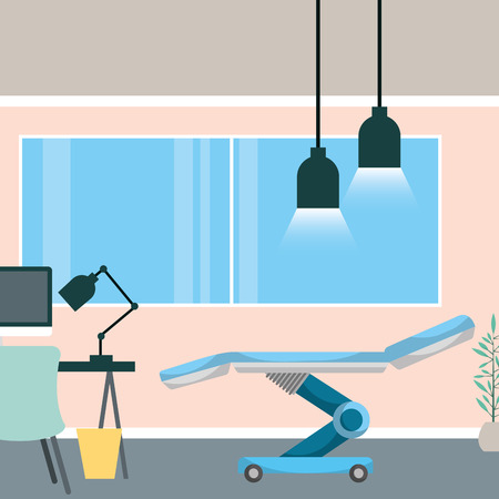 medical consultation room stretcher desk pc lamps window office vector illustration Illustration
