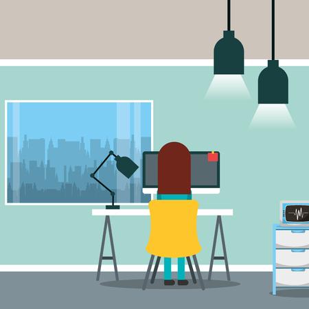 arts zittend op rug werken in bureau pc kantoor venster vector illustratie