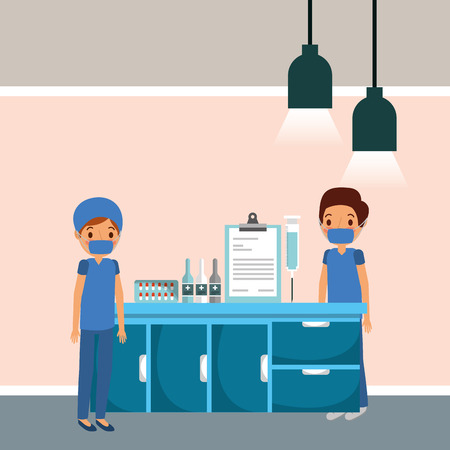 medical staff doctors and furniture with medicine supplies vector illustration