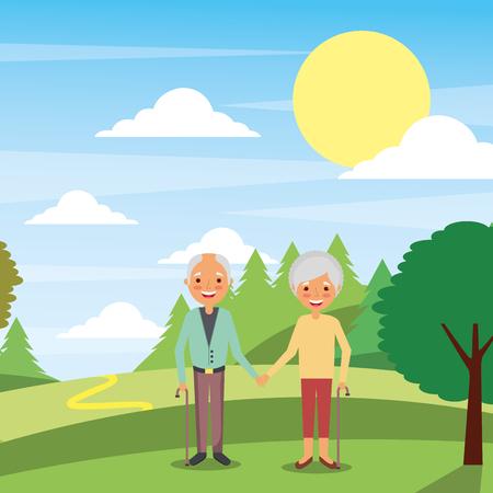 cute older mature couple holding hands in landscape natural vector illustration