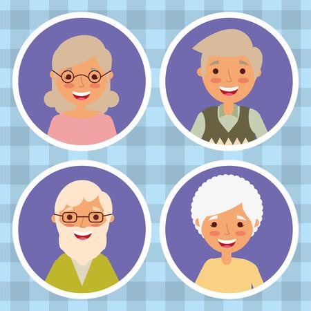 set of grandparents woman and man older cartoon vector illustration  イラスト・ベクター素材