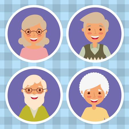set of grandparents woman and man older cartoon vector illustration Illustration