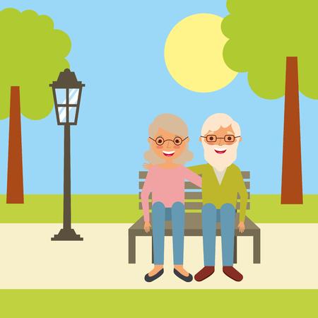 公園のベクターイラストのベンチに座って古い笑顔のカップル  イラスト・ベクター素材