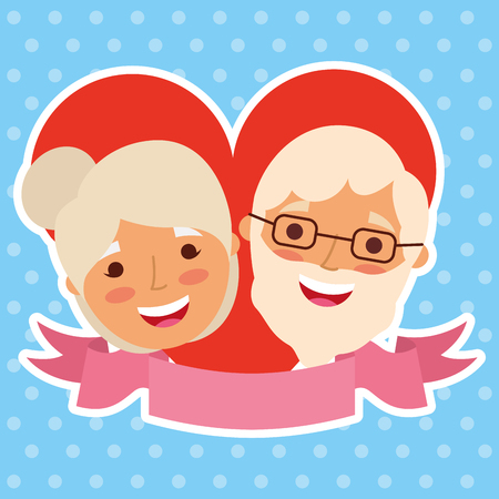 grandparents together happy in love heart vector illustration Illusztráció