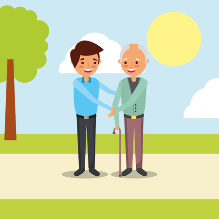 happy old man and young man holds hands family vector illustration Vettoriali