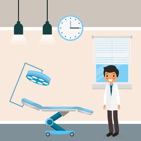 medical dental doctor stretcher lamp clock window cartoon vector illustration