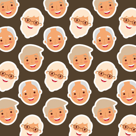 Cute grandparents face pattern vector illustration Иллюстрация