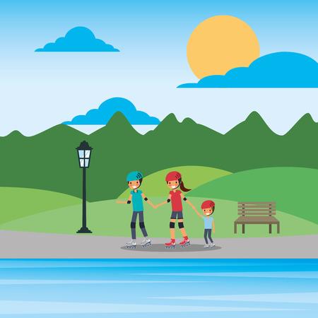 Family on roller skating in the park vector illustration