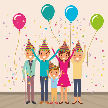 Familie, die Geburtstagsvektorillustration feiert Standard-Bild - 97560237