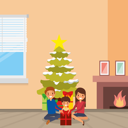 Happy family with tree and gift vector illustration Illustration