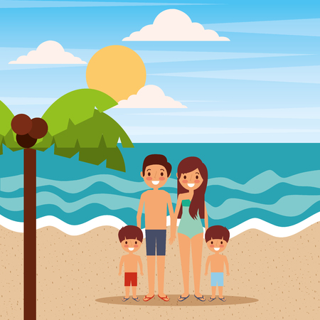 Family relaxing on the beach vector illustration