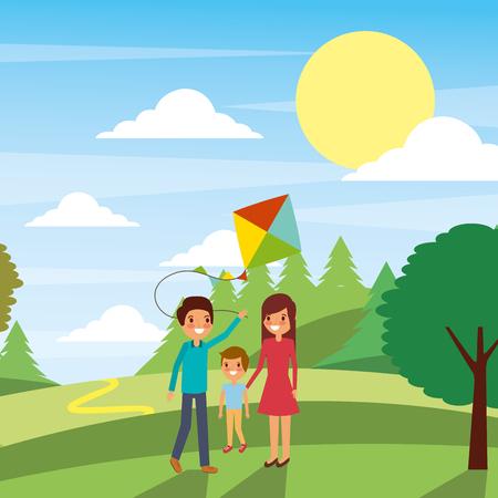 Familie spelen met een vlieger vectorillustratie Stock Illustratie