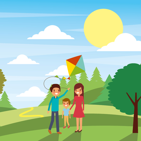 Family playing with a kite vector illustration Reklamní fotografie - 97560872