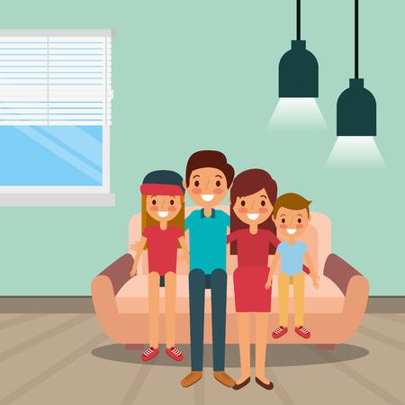 Happy family sitting on sofa vector illustration