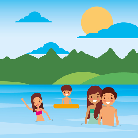 Family in the river vector illustration