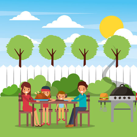 Family making barbecue in the backyard vector illustration