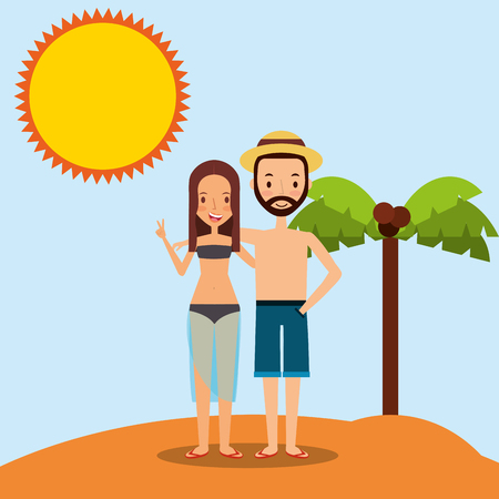 Couple on the beach vector illustration