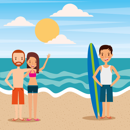 Couple and man on the beach vector illustration Illustration