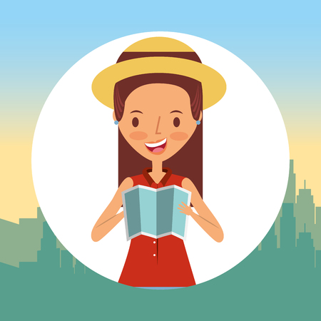 Young woman tourist travel with map vector illustration Vettoriali