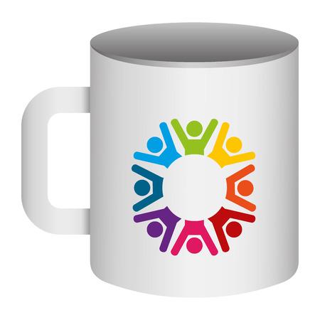 corporate ceramic mug mockup  template for branding identity and company vector illustration