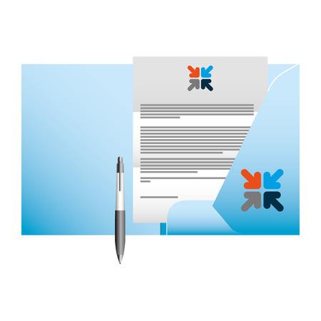 corporate identity mock up stationery folder document and pen vector illustration  イラスト・ベクター素材
