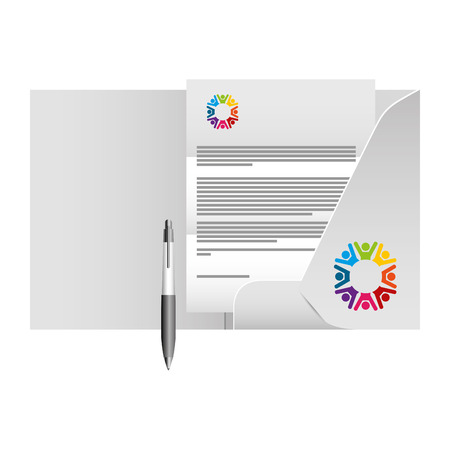 corporate identity mock up stationery folder document and pen vector illustration Ilustração