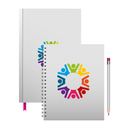 corporate book spiral notepad and pencil mockup template branding and corporate identity vector illustration Illustration