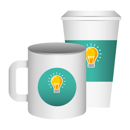 corporate ceramic mug paper cup  template for branding identity and company vector illustration Standard-Bild - 97251832