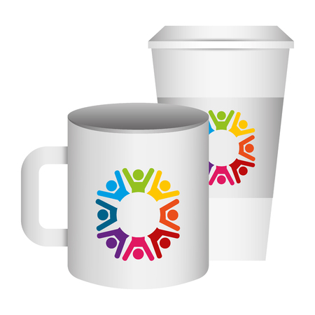 corporate ceramic mug paper cup  template for branding identity and company vector illustration Vettoriali