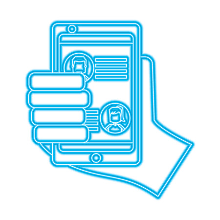 hand holding smartphone chat messages in screen vector illustration blue color line image