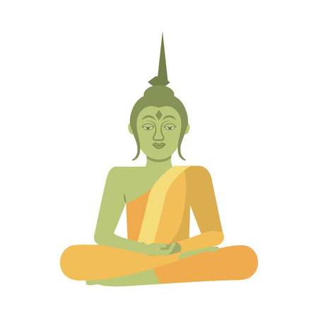 thai buddha sitting lotus flower religion statue vector illustration Ilustração