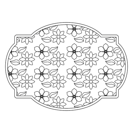 label floral decoration natural jasmine flower vector illustration outline image Иллюстрация