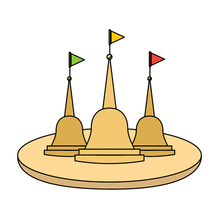 thailand temple traditonal culture building vector illustration