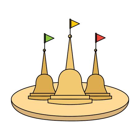 thailand temple traditonal culture building vector illustration