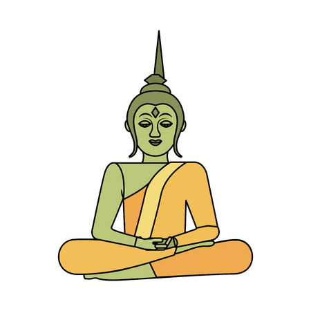 thai buddha sitting lotus flower religion statue vector illustration Illustration