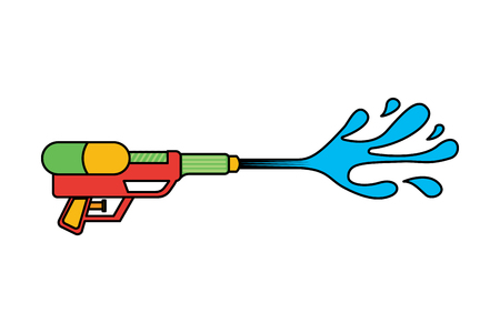 water gun shoot splash toy plastic vector illustration 向量圖像