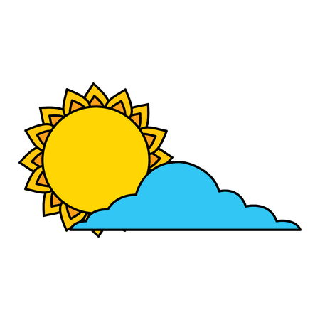 summer sun cloud weather day sky vector illustration