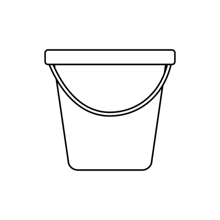 plastic bucket container handle tool vector illustration outline image Vectores