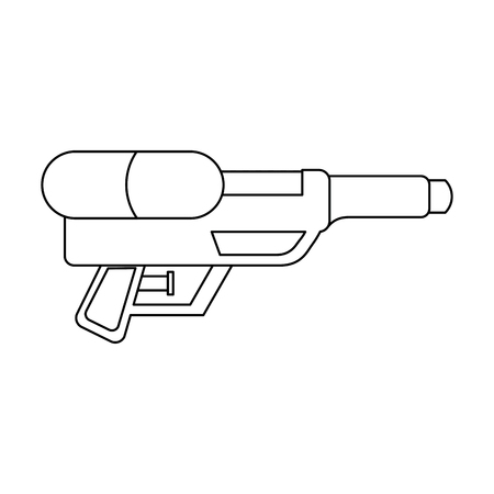 water gun shoot splash toy plastic vector illustration outline image