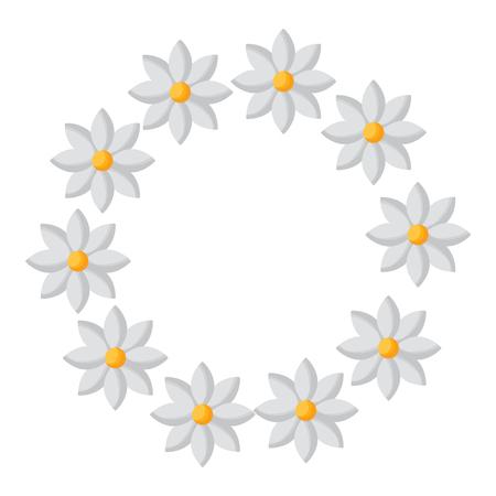 floral wreath jasmine flower decoration natural vector illustration