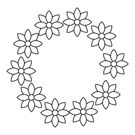 floral wreath jasmine flower decoration natural vector illustration outline image