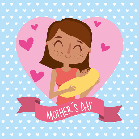 cute mom holds her baby in heart lovely - mothers day card vector illustration