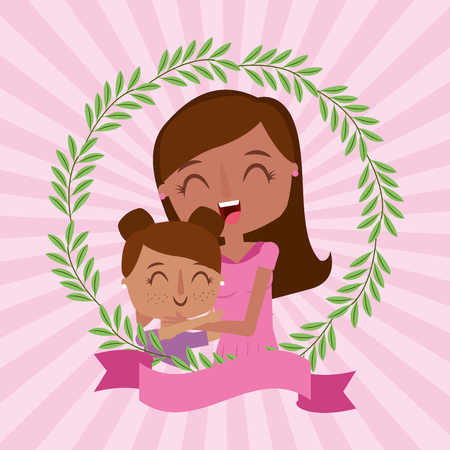 beautiful mom embraced daughter floral decoration - mothers day card vector illustration Illustration