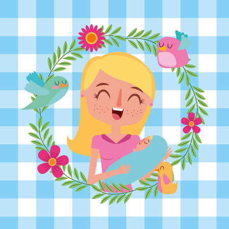 mother holding her newborn baby in her arms flowers decoration - mothers day card vector illustration  イラスト・ベクター素材
