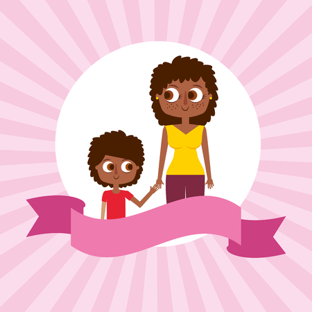 african american mom with her son - mothers day card vector illustration
