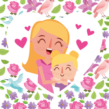 beauty mom huggings her daughter in heart floral - mothers day card vector illustration