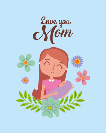 mother holding her newborn baby in her arms blue background - mothers day card vector illustration