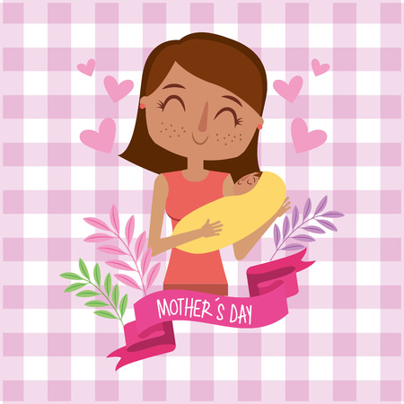 mother holding her newborn baby in her arms floral pink checkered background - mothers day card vector illustration Illustration