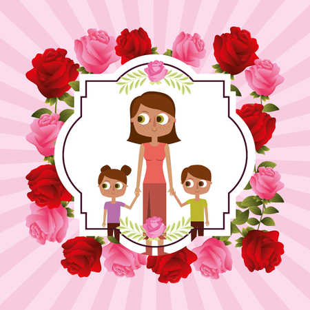vintage label flowers mom and her kids holding hands - mothers day card vector illustration Stock Vector - 97254412