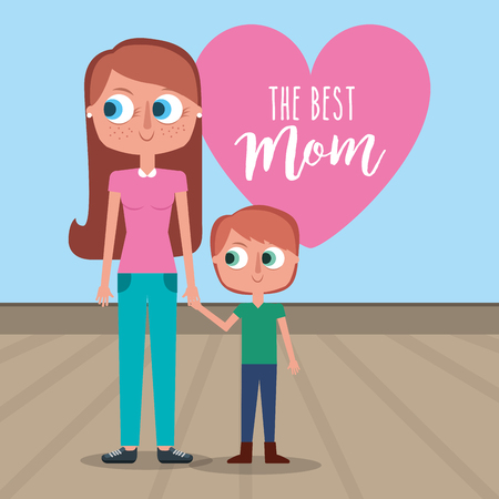 best mom holds hand kid son - mothers day card vector illustration